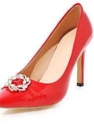 Damen-High Heels-Outddor Büro Lässig-PU-StöckelabsatzSchwarz Rot