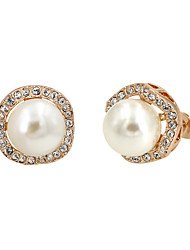 Stud Earrings Imitation Pearl AAA Cubic Zirconia Pearl Gold Plated Fashion Gold Silver Gray Jewelry Party Daily 1 pair