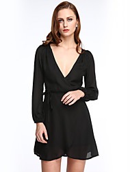 Women's Casual/Daily Sexy Chiffon Dress,Solid Deep V Mini Long Sleeve Red / Black Polyester Summer