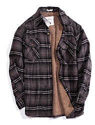 Men's Casual/Daily Simple Shirt,Check Button Down Collar Long Sleeve Brown Cotton