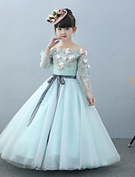 A-line Floor-length Flower Girl Dress - Tulle Charmeuse Off-the-shoulder with Beading Flower(s) Lace Sash / Ribbon