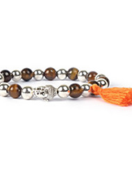Bracelet Strand Bracelet Agate Evil Eye Personalized Daily Casual Jewelry Gift Coffee Silver Orange,1pc