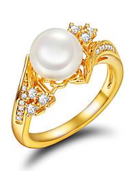 Ringe Perle Hochzeit Party Alltag Normal Schmuck Künstliche Perle vergoldet Damen Ring Verlobungsring 1 Stück,7 8 Goldfarben
