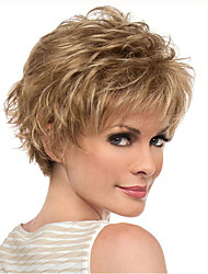 Gold Blonde Short Curly wig for Women Natural Synthetic Wigs