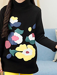 Girl Casual/Daily Solid Blouse,Rayon Winter Fall Long Sleeve Long