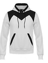 Men's Casual/Daily Hoodie Color Block Round Neck Fleece Lining Micro-elastic Cotton Long Sleeve Winter