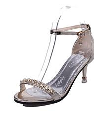 Damen Sandalen Komfort PU Sommer Normal Walking Komfort Schnalle Stöckelabsatz Gold Silber Rosa 5 - 7 cm