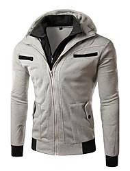 Sweatshirt Hommes Décontracté / Quotidien Actif Couleur Pleine Col Arrondi Non Elastique Coton Manches Longues Printemps Hiver