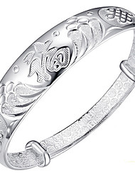 Women's Bangles Fashion Sterling Silver Flower Jewelry For Birthday Gift