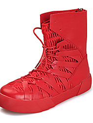 Men's Boots Spring / Fall Comfort PU Casual Flat Heel Lace-up Black / Red / Black and Gold