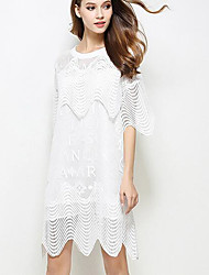 Women's Beach Sexy Cute Lace Dress,Solid Strapless Above Knee ¾ Sleeve Silk White Summer Low Rise Micro-elastic