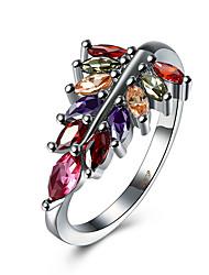Bague Zircon cubique Zircon Cuivre Acier au titane Imitation de diamant Argent Bijoux Quotidien Décontracté 1pc
