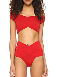 Women's Sexy Tankini Swimwear Cross High Rise Solid Nylon Polyester Red Black