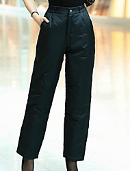 Women's Loose Chinos Pants,Casual/Daily Simple Solid High Rise Button Elasticity Cotton Polyester Inelastic Winter