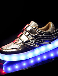 Boy's Athletic Shoes Spring Fall Comfort PU Outdoor Athletic Flat Heel Magic Tape Pink Silver Gold