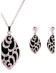Women Wedding Bridal Party Dress Full Rhinestone Oval Leaf Pattern Rhinestone Pendant Necklace Earrings Two-piece