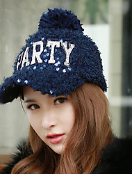 New Winter Fashion Sequins Plush Baseball Cap Warm Peaked Cap Letters