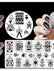 4pcs / set jolie géométrie des plaques thème nail art estampage nés modèle manucure