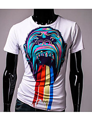 Men's Casual/Daily Street chic T-shirt,Striped Round Neck Short Sleeve Multi-color Cotton