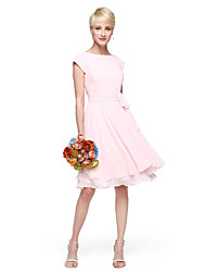 Lanting Bride® Knee-length Chiffon Bridesmaid Dress - A-line / Princess Jewel Plus Size / Petite withBow(s) / Buttons / Sash / Ribbon /