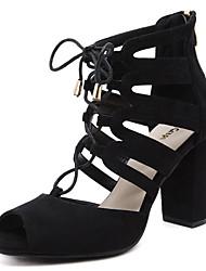 Damen-Sandalen-Outddor Kleid Party & Festivität-Wildleder-Blockabsatz-Neuheit Club-Schuhe Komfort-Schwarz