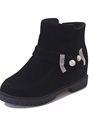 Women's Boots Fall Other Comfort PU Casual Low Heel Rhinestone Buckle Black Yellow Red Other