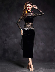 Dança do Ventre Vestidos Mulheres Actuação Renda Veludo Renda 1 Peça Manga Comprida Alto Vestido
