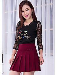 Damen Röcke,A-Linie einfarbig Gefaltet,Lässig/Alltäglich Einfach Mittlere Hüfthöhe Über dem Knie Reisverschluss Leinen Micro-elastisch
