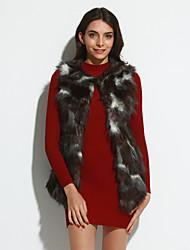 Mulheres Casaco de Pelo Casual / Festa/Coquetel / Tamanhos Grandes Sensual / Simples Outono / Inverno,Sólido Preto Acrílico Decote V-Sem