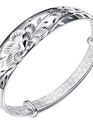 Feminino Bracelete Prata de Lei Moda Elegant Formato de Flor Prata Jóias 1peça