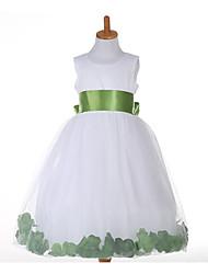 Девичий Платье На каждый день Полиэстер Однотонный Все сезоны Без рукавов