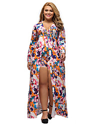 Women's Plus Size Sleeved Floral Romper Maxi Dress