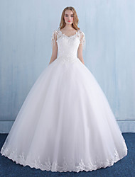 Princess Wedding Dress Floor-length V-neck Lace Tulle with