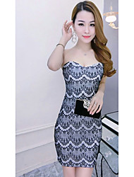 Women's Going out Casual/Daily Sexy Bodycon Dress,Solid Strapless Midi Sleeveless Blue Red White Black Cotton Summer Low Rise