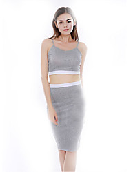 Women's Casual/Daily Sexy Bodycon Dress,Solid Strap Midi Sleeveless Gray Cotton Summer Low Rise Micro-elastic Thin