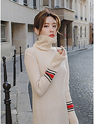 Women's Casual/Daily Simple Sweater Dress,Solid Round Neck Maxi Long Sleeve White Black Cotton Winter Mid Rise Micro-elastic Medium