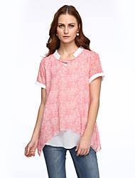 Damen Patchwork T-shirt - Polyester Kurzarm Rundhalsausschnitt