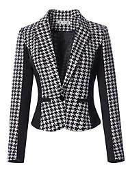 Women's Plus Size Simple Jackets,Houndstooth Peaked Lapel Long Sleeve Spring Black Cotton Medium
