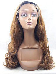 Black Root Heat Resistant Synthetic Lace Front Wig Body Wave Golden Brown Synthetic Hair Fiber Wig For Fashion Woman