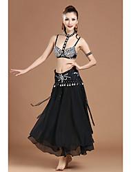 Dança do Ventre Roupa Mulheres Actuação Poliéster Cristal/Strass Amarrotado Lantejoulas 5 Peças Sem Mangas CaídoCinto Saia Neckwear