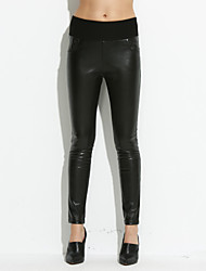 Feminino Tamanhos Grandes Skinny Jeans Calças-Cor Única Cintura Alta PU Micro-Elástico Outono