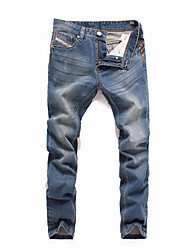 Men's Straight Jeans Pants,Casual/Daily Sports Simple Active Solid Mid Rise Zipper Cotton Inelastic All Seasons