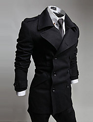 Men's Casual/Daily Simple Coat,Solid Shirt Collar Long Sleeve Fall Winter Blue Black Gray Cotton Medium