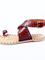 Damen-Sandalen-Outddor Lässig-Nappaleder-Flacher Absatz-Komfort-Rot Weiß Khaki