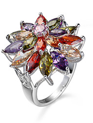 Luxury Brand Colorful Rings For Women Petals Shape White Gold Plated Copper Inlay Zrcon Rings Female Jewelry Gift