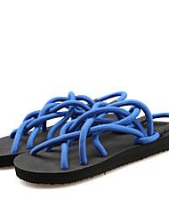 Unisex Sandals Spring Summer Fall Comfort Novelty Silk Casual Flat Heel Ribbon Tie Black Blue Gray