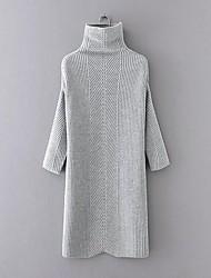 Feminino Bainha Tricô Vestido, Para Noite Casual Simples Moda de Rua Sólido Colarinho Chinês Longo Manga Longa Marrom CinzaRaiom