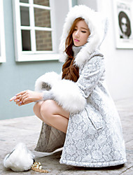 DABUWAWA Women's Long Padded CoatVintage Cute Sophisticated Going out Casual/Daily Holiday Solid Patchwork-Faux Fur