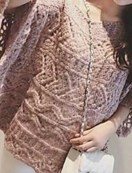 Damen Standard Pullover-Lässig/Alltäglich Einfach Gestreift Rosa Rot Grau Orange Rundhalsausschnitt Langarm Acryl Herbst Mittel
