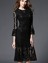 Women's Formal Party/Cocktail Sophisticated Lace Dress,Solid Lace Cut Out Round Neck Midi Long Sleeve Flare Sleeve Polyester Black Spring